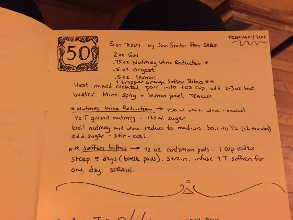 Working notes for the Scot Toddy in the bar book of record